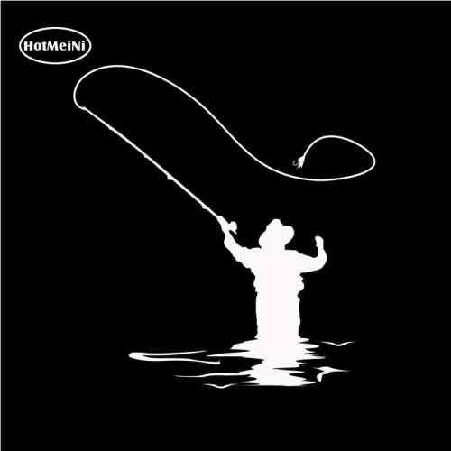 HotMeiNi Sinek Balıkçılık Araba Sticker Çıkartması Eğlenceli Balıkçılık Vinil Pencere Tampon Dizüstü Su Geçirmez Siyah/Gümüş 14*15 cm