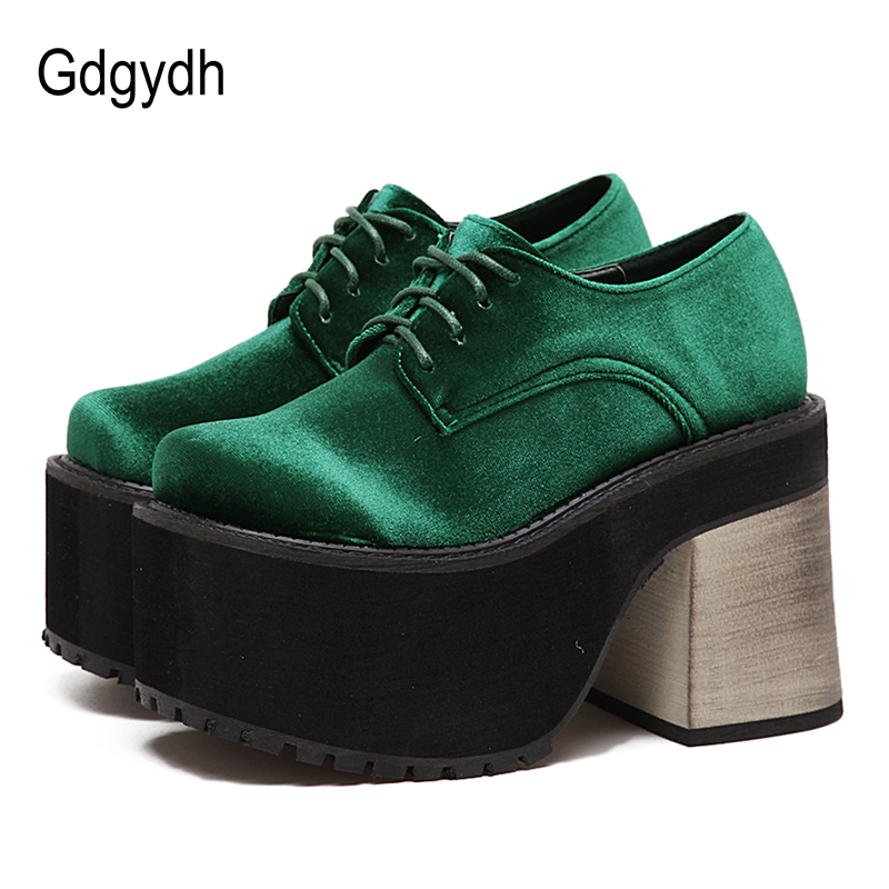 Gdgydh 2019 New Fashion Spring Autumn High Heels Casual Shoes Woman Black Green Round Toe Platform Pumps For Women Lacing Flock