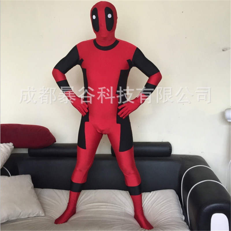 2016new high quality Red Adult Deadpool Zentai Suit Shows Superhero Cosplay Carnival for Party Mandy Halloween Full Body Costume
