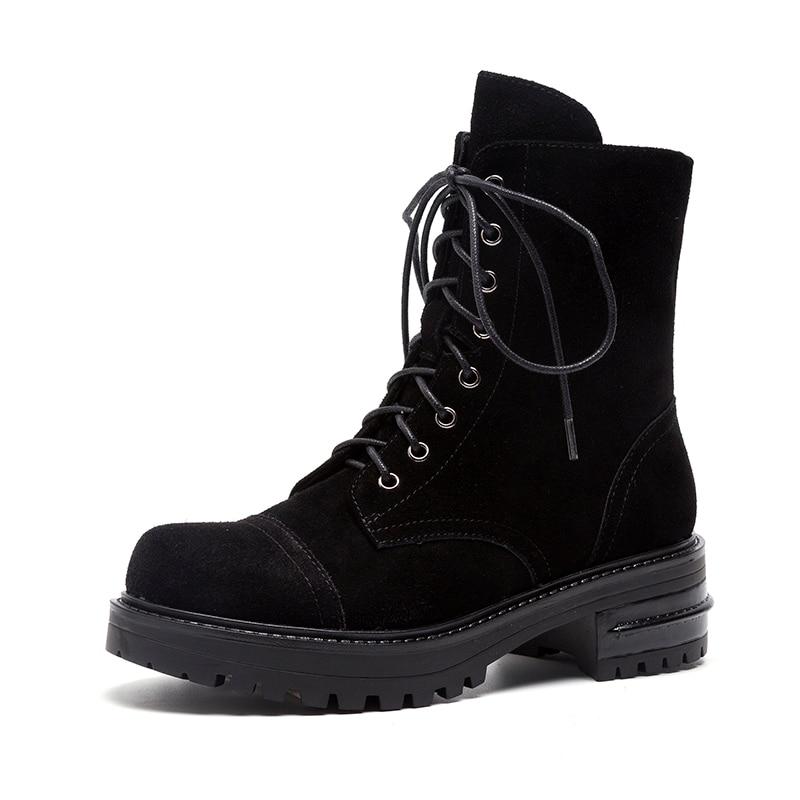 Leather Bottes En Chaussures Véritable De Black Femme Chunky Nouveau Spéciale Vache black Suede Martin Cuir Talons Offre Femmes Naturel Sarairis Cow wn7qUAxg4