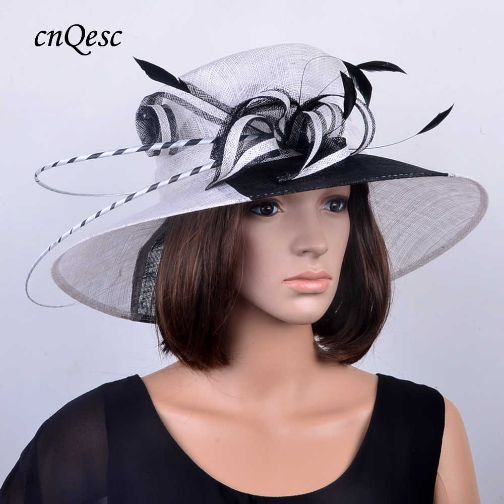 d9cf1cf00e4f1 Detail Feedback Questions about 2019 NEW wide brim WHITE BLACK Formal  Church hat Dress Sinamay Hat wedding accessories for races Kentucky  Derby party