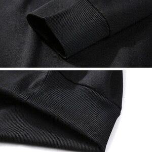 Image 5 - Homens Camisolas de lã quente 5XL MFERLIER 6XL tamanho grande tamanho grande outono cor sólida Camisolas pulôver de algodão casaco sem capuz preto