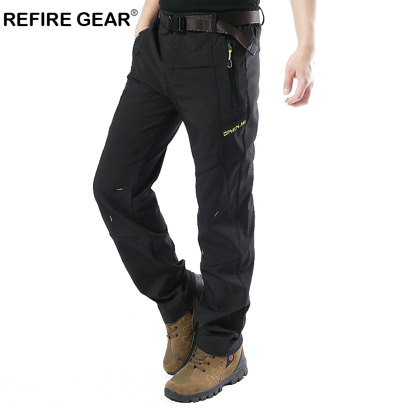 ReFire Gear Winter Warm Breathable Outdoor Pants Men Soft Shell Fleece Sport Trouser Male Plus Size Quick Dry Waterproof Pants men plus size 4xl 5xl 6xl 7xl 8xl 9xl winter pant sport fleece lined softshell warm outdoor climbing snow soft shell pant