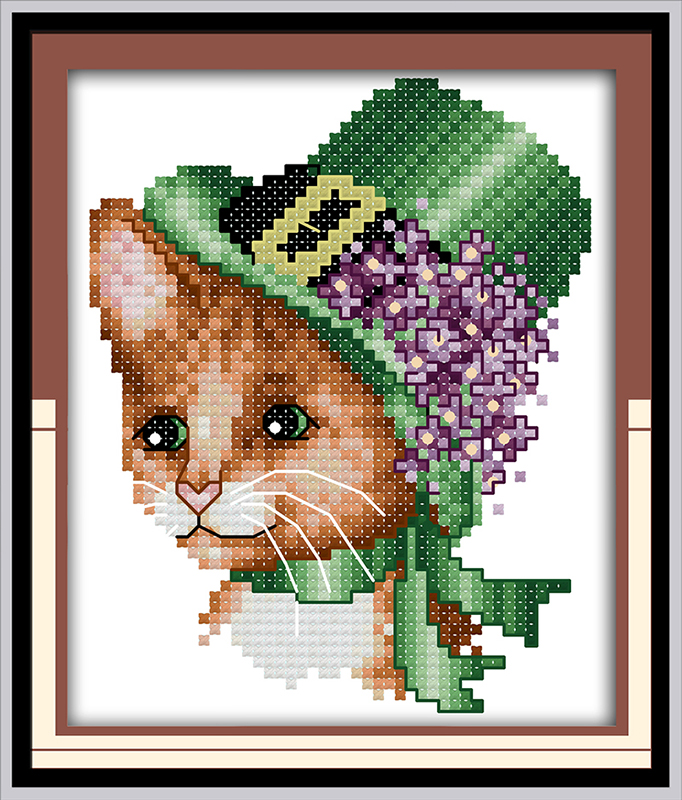 Printed Canvas Dmc Counted Chinese Cross Stitch Kits Printed Cross-stitch Set Embroidery Needlework Shop For Cheap Cat Wearing A Hat 2
