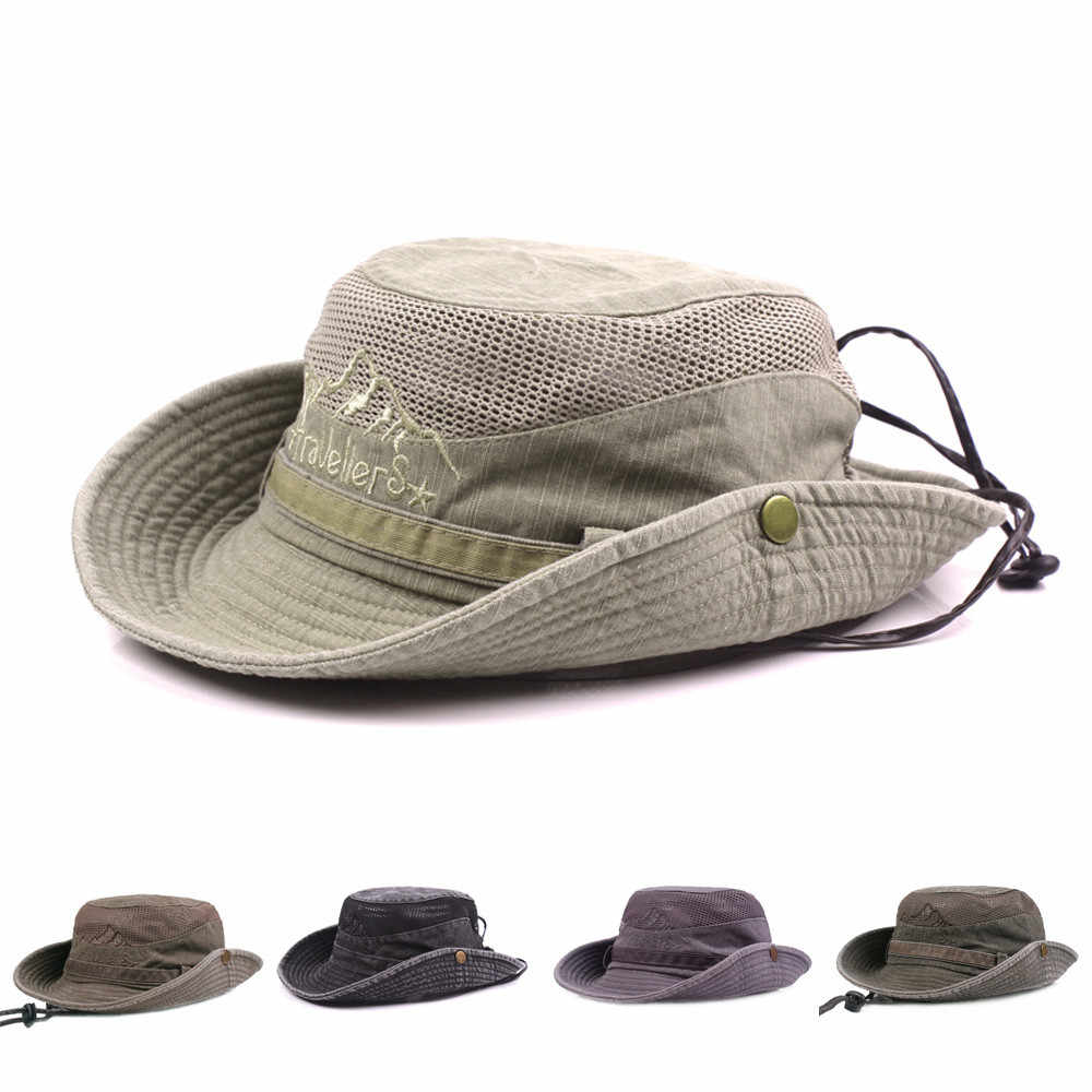 fc5b246990b Fashion Sunshade Cap Hat For Mens Embroidery Visor Summer Cap Mesh Hats  Cotton Fisherman Hat Outdoor