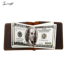 Genuine Cow Leather Metal Clamp Wallet Engraved Name or logo Purse Male Short Style Money Clip Wallet(China)
