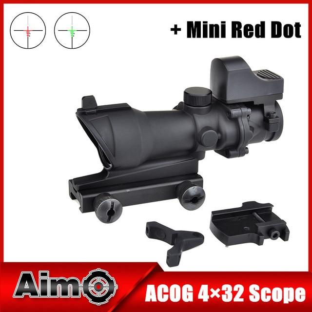 Airsoft Aim ACOG Style 4x32 Cross Rifle Scope Optical Sight Scope with  Mini Red Dot Light Sensor Hunting Shootin AO 5317