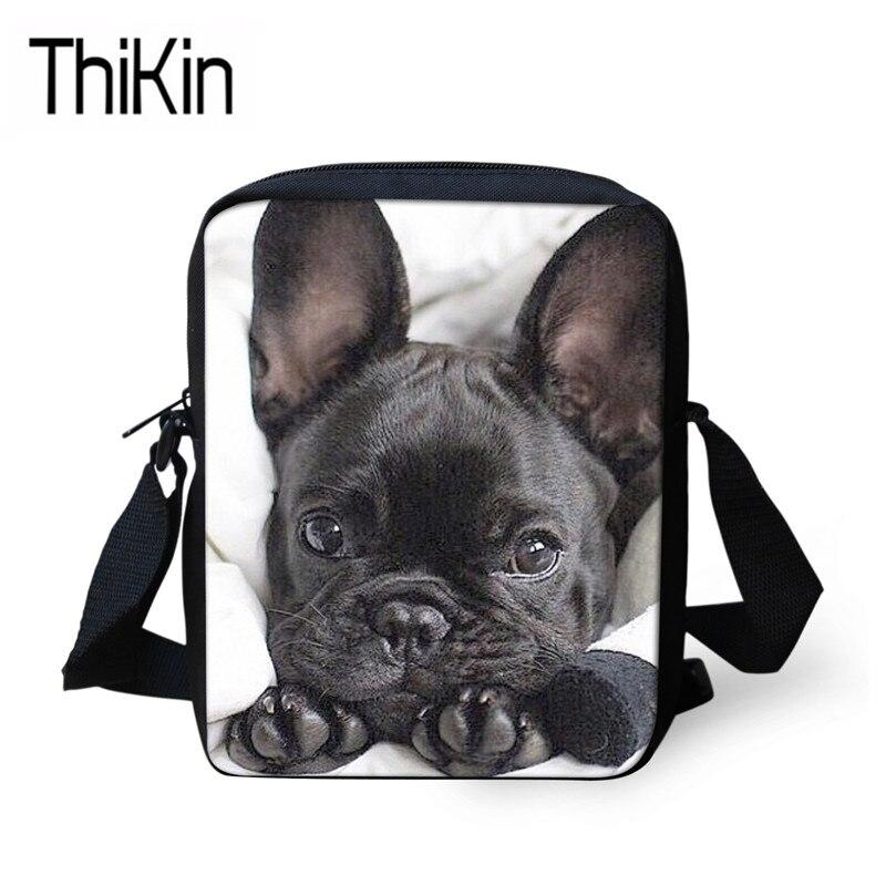 THIKIN Shoulder Messenger Bags Women 3D French Bulldog Printing Handbags For Children Mini Kindergarten Bagpack Girls Book Bags