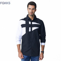 FGKKS 2018 Spring Autumn Features Shirts Men Casual Jeans Shirt New Arrival Long Sleeve Casual Slim