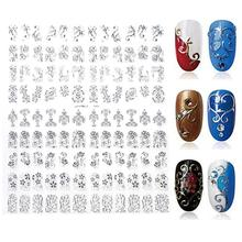 108 Pattern Sheet Large Size Bronzing Nail Stickers Paste Manicure Gold Silver Flowers Sticker Decal 3D