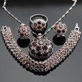Conjuntos de Jóias rodada Red Garnet Prata Hoop Brincos Pulseiras Set Colar Pingente Anéis Para As Mulheres Caixa de Presente Livre