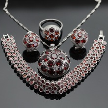 Round Red Cubic Zirconia Silver Jewelry Sets Hoop Earrings Bracelets Set Necklace Pendant  Rings For Women Free Gift Box