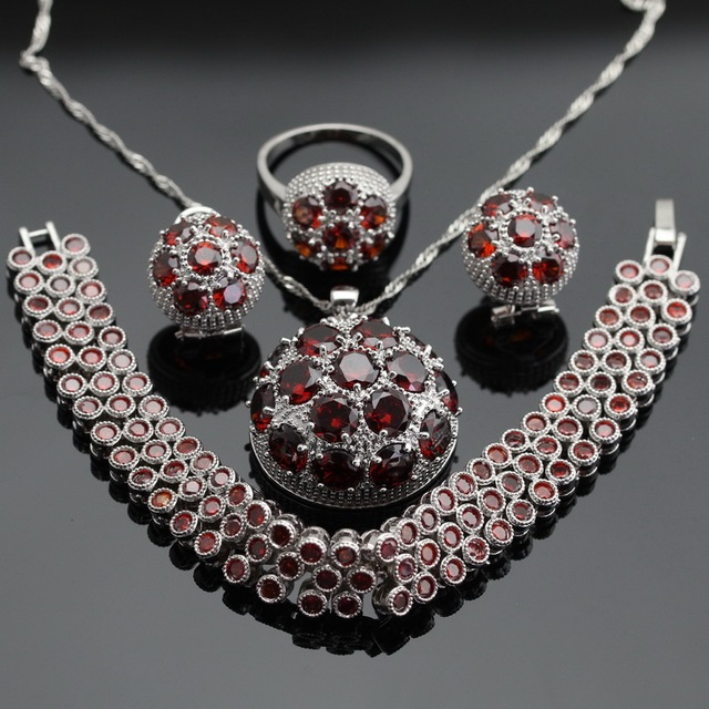 Round Red Garnet  Silver Jewelry Sets Hoop Earrings Bracelets Set Necklace Pendant  Rings For Women Free Gift Box