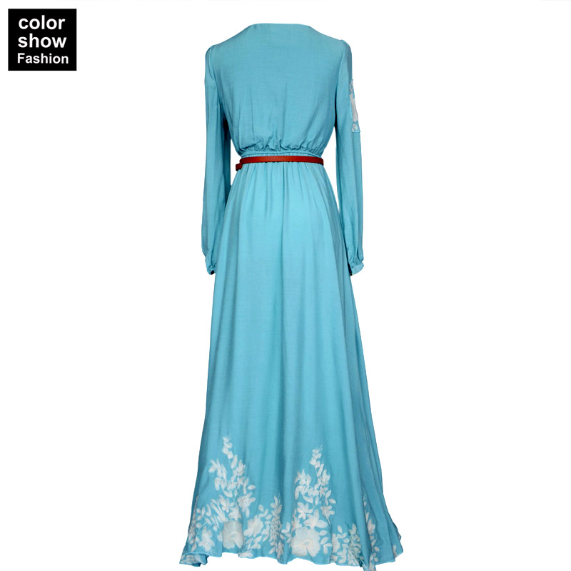 Medieval Dress Marie Antoinette Elegant embroidery cotton long maxi ...