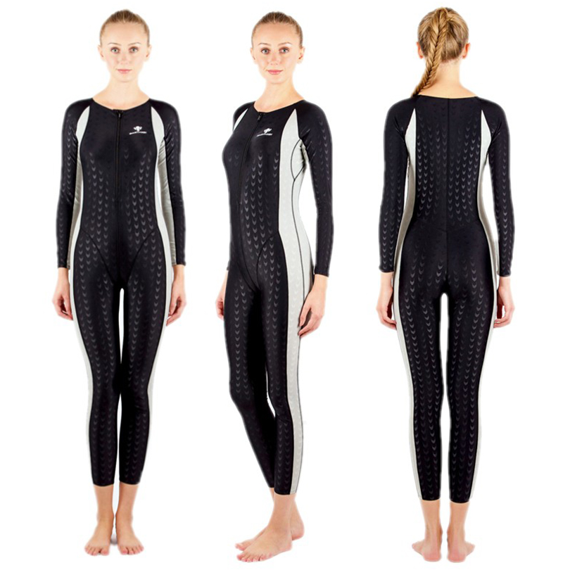 Здесь продается  HXBY One Piece Women Swimsuit Front Zipper Long Sleeve Winter Swimming Wear Training Swimming Sport suit Swimsuit Female  Спорт и развлечения