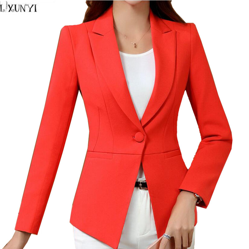 LXUNYI Autumn Korean Ladies Blazer jackets White 4XL Plus Size One Button Slim Office Blazers For Women Suit Coat Long Sleeve