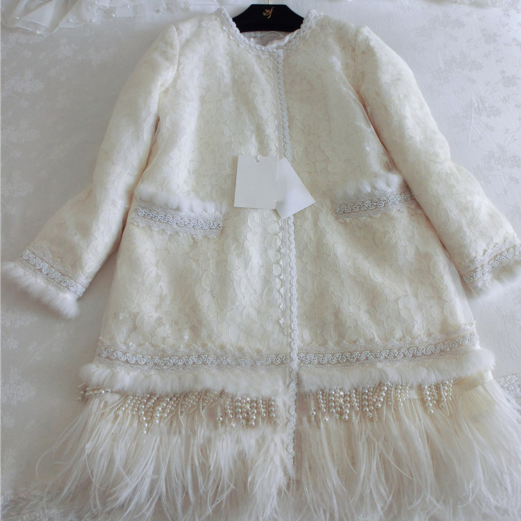 Cakucool Women Winter Autumn Jacket Feathers Lace Hollow Out Pearl Beading Outerwear Slim Cute Cotton Liner Lolita Coats Female