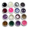 16 Color Glitter Dust UV Builder Gel Set Nail Art False French Tips nail gel Salon Tools
