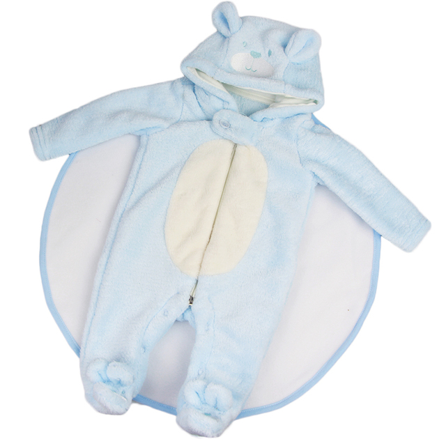 bb95b8867e1 New Arrival Doll Clothes Blue Plush Rompers with Hat Suit 23 inch Reborn  Baby Doll Boy Cartoon Bear Doll Clothes