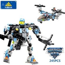 KAZI 8020 Transformation Robot Blocks Action Figure Building Blocks DIY Helicopter Model Bricks Building font b