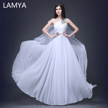 LAMYA Fashionable One Shoulder Evening Party Dress 2019 Chiffion A Line Formal Dresses Lace Up Crystal Prom Gown Robe De Soiree
