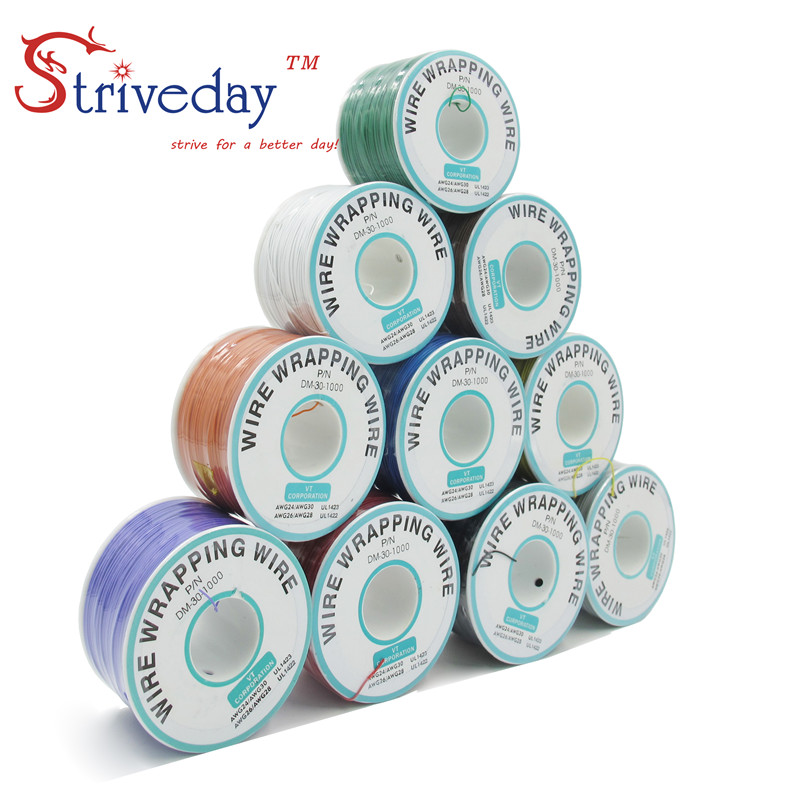250 Meters 820ft Electrical Wire 10 Colors Single Strand Copper AWG30 Cable OK Wire & PCB Wire DIY CABLE high quality electrical wire wrapping wire wrap 10 colors single strand copper awg30 cable ok wire