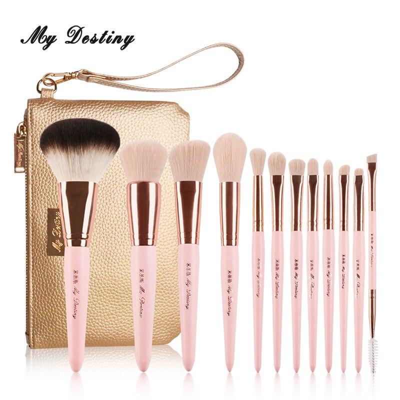 Meu destino 12 pçs pincéis de maquiagem rosa profissional conjunto com saco de maquiagem pincel maquiagem pincel pincomo pinceaux maquillage