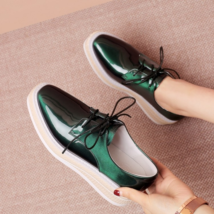 MLJUESE 2018 Fashion Sneakers Patent Leather Green Color Autumn Spring Dad Sneakers Vulcanize Shoes Wedges Sneakers Size 34-42