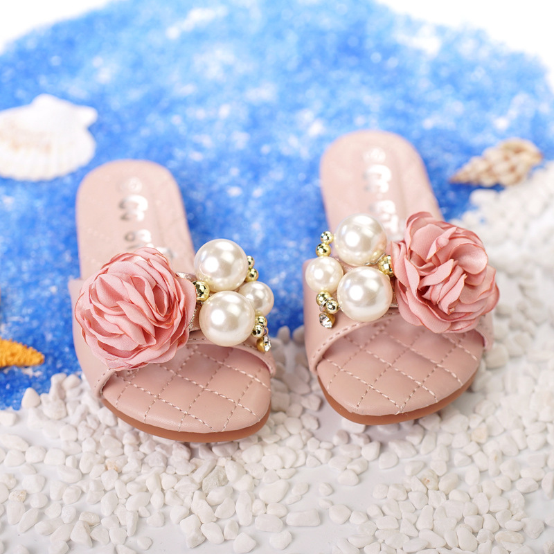Princess Summer Slippers Baby Girls Sweet Slides Pink Slippers with Big Pearls and Flowers Kids Flats Rubber Sole Size 24-37 sweet years sy 6130l 24