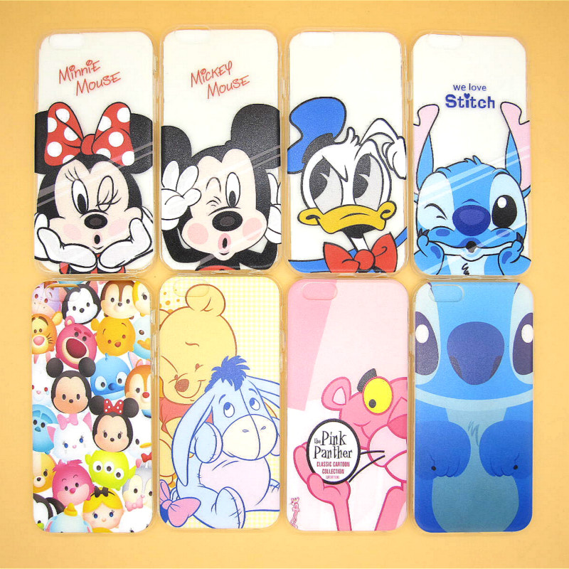 Hot Sale Cute Cartoon Mickey Minnie Winnie Soft TPU Back Cover for Apple iPhone 6 6s 4.7'' Funny Stitch Donald Duck Phone Case