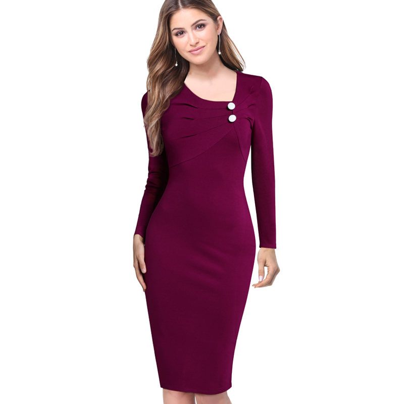 Autumn Women Elegant Ruched Buttons Casual Formal Wear To Work Business Sheath Fitted Pencil Bodycon Dress EB351