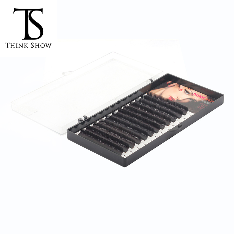 Thinkshow 8-15mm 12Rows Silk Eyelash Extension Professional Soft Handmade Lash Eye 3D Russia