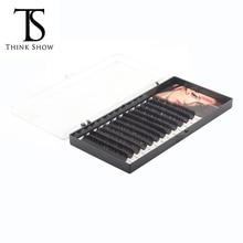 Thinkshow 8-15mm 12Rows extensión de pestañas de seda profesional suave extensiones de pestañas hechas a mano Extensión de pestañas 3D Rusia pestaña