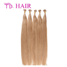 #18 Natural keratin capsule prebonded flat tip virgin human hair extensions remy human hair double drawn stick hair