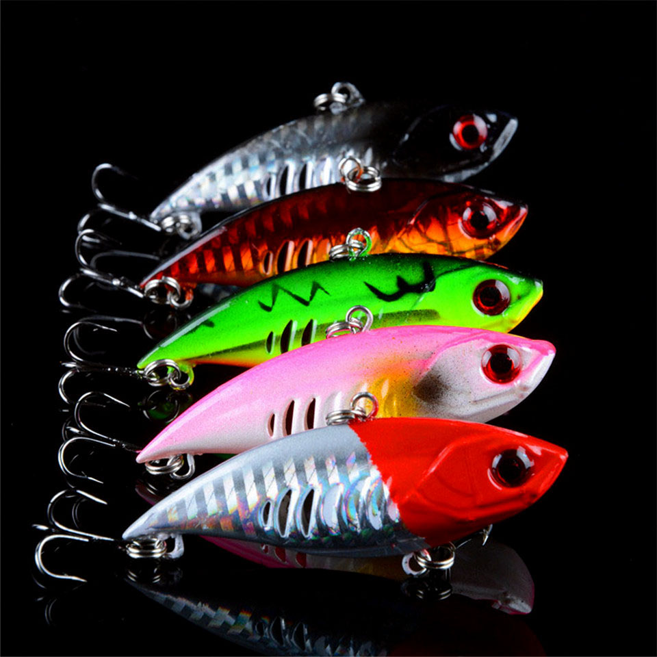 New 5pcs 6.5cm 10.6g Winter Fishing Hard Bait VIB with Lead Inside Ice Sea Fishing Tackle Diving Swivel Jig Wobbler Lures Hooks brand new 1pcs winter fishing lures hard bait vib with lead inside lead fish ice sea fishing tackle swivel jig wobbler lure best