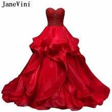 324eb2241d1ca JaneVini 2019 Büyüleyici Balo Kırmızı Quinceanera elbise Sevgiliye Ağır  Boncuk Backless Organze Ruffles Uzun Tatlı 16 Elbiseler