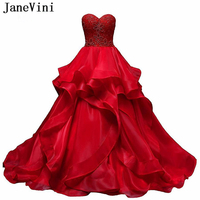 JaneVini 2019 Charming Ball Gown Red Quinceanera Dresses Sweetheart Heavy Beading Backless Organza Ruffles Long Sweet 16 Dresses