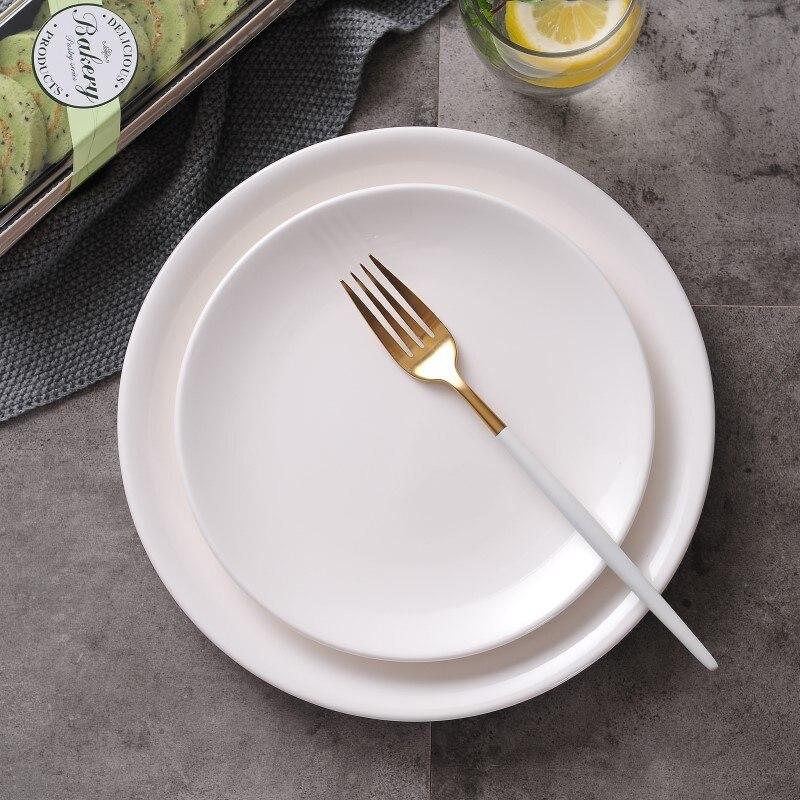 Dinnerware Ceramic Plate Dish White Porcelain On Glazed