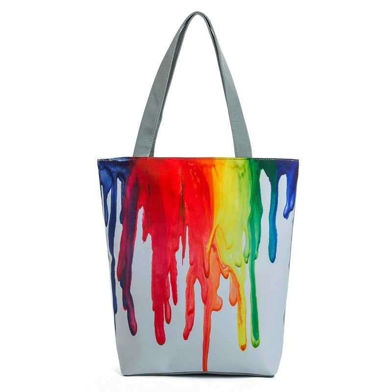 Miyahouse Canvas Shoulder Bag Women Tote Handbag Colorful Painting Shopping Bag For Female Summer Beach Bag Lady