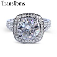 TransGems 3 Carat Lab Created Moissanite Ring white Gold fashion jewelry Ring Band with Accent Real Diamond for Women Engagement цены онлайн