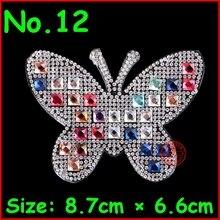 3 pcs/lot Glitter Motif Butterfly Design Hot Fix Iron On Heart Transfer Motifs Strass Applique Patches For T Shirt Pants Garment