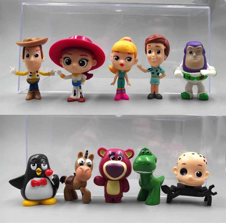 Toy Story Woody Lightyear Rex Alien Bear 10 PCS Action Figures Cake Topper Toys