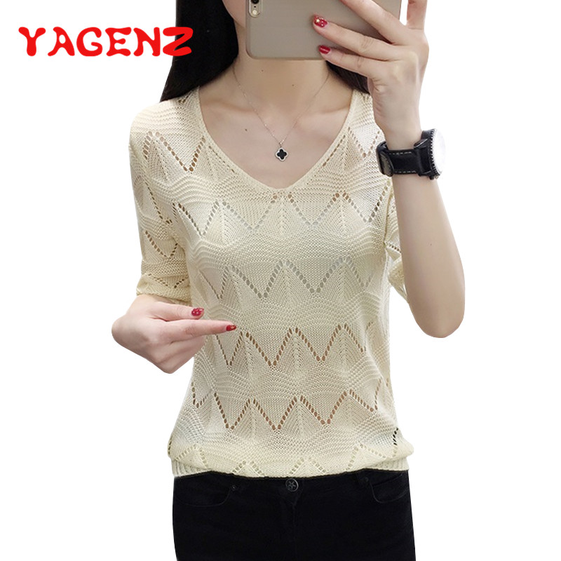 YAGENZ Hook Flower Hollow V neck Women Knitted Sweater Ice silk Fashion New Summer Woman Sweater Knitting Pullovers Sueter Mujer