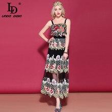 リンダデラ 2019 LD 春のファッション滑走路ドレス女性のスパゲッティストラップゴージャスな黒メッシュ花刺繍ドレス