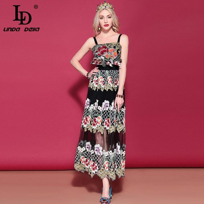 LD LINDA DELLA 2019 ฤดูใบไม้ผลิแฟชั่น Runway Vintage ยาวชุดสตรีสปาเก็ตตี้ Gorgeous สีดำตาข่ายดอกไม้ชุดเย็บปักถักร้อย-ใน ชุดเดรส จาก เสื้อผ้าสตรี บน   1