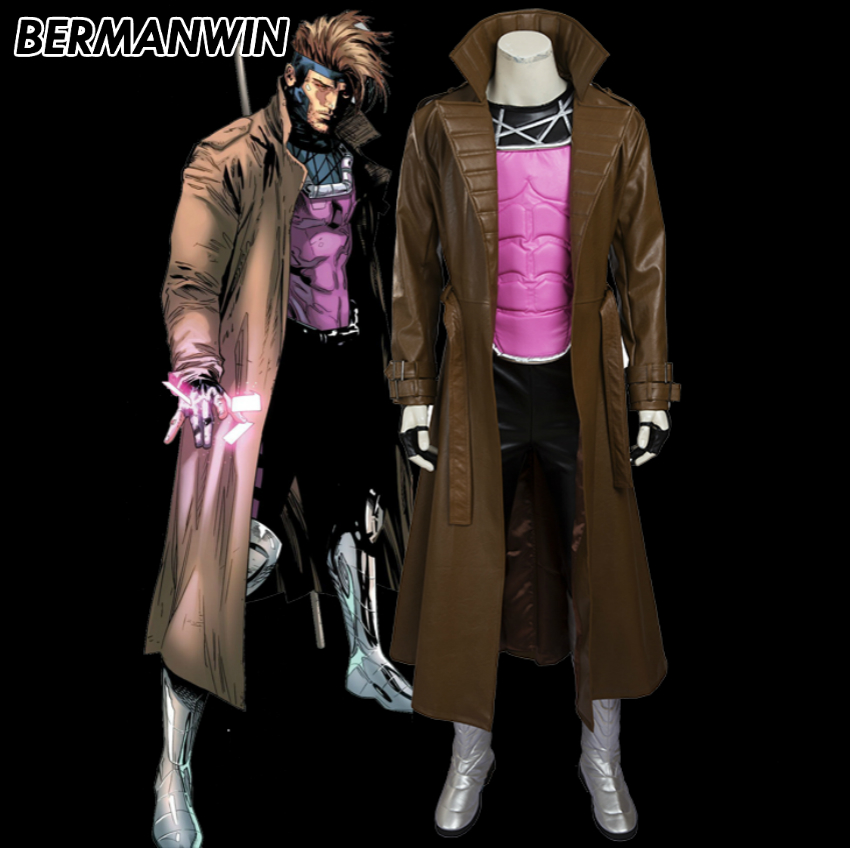 BERMANWIN High Quality Gambit costume adult Men Halloween costume Superhero X-men costume Gambit Cosplay Costume