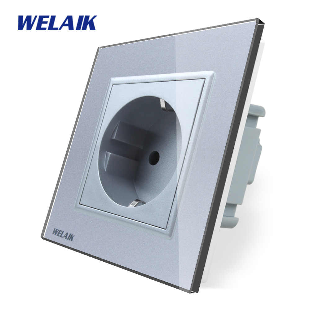 WELAIK EU Wall-Socket Wall-Power-Socket New-Outlet EU Standard-Gray Crystal-Glass-Panel AC 110~250V 16A  A18ES