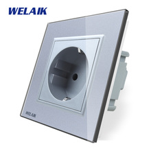 цена на WELAIK EU Wall Socket Wall Power Socket New Outlet French Standard White Crystal Glass Panel AC 110~250V 16A  A18FW