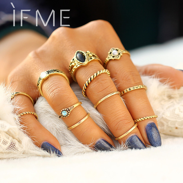 IF ME 12 PCS/Set Retro Vintage Gold Silver Color Knuckle Midi Rings Set For Wome
