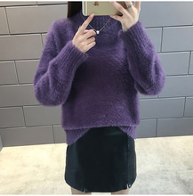 Ladys THICKED sweater with half turtle-neck pull love sweater , serval colours to choose solid turtle neck sweater